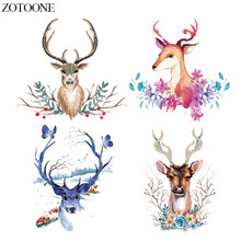 ZOTOONE Deer Patches For Clothing Iron On Transfers Christmas Gift for Kids Heat Transfer Vinyl Sticker Clothes DIY T-shirt E
