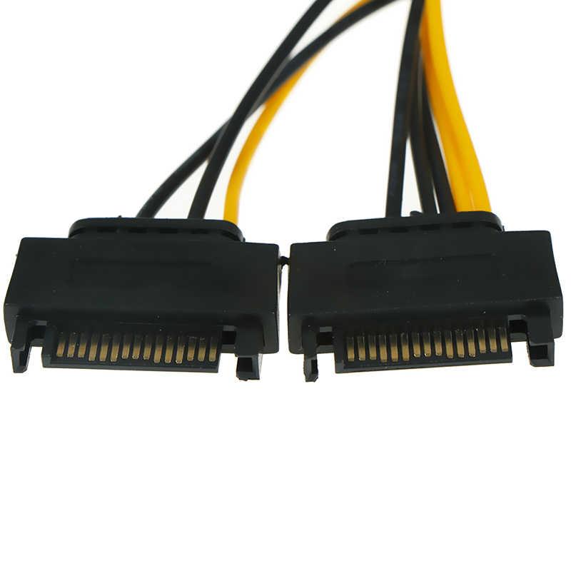 20CM 18AWG tel bağlayıcı madenci madencilik için 1 2 erkek 15Pin to 8Pin SATA kablosu çift SATA güç kablo 15P 8P grafik kartı