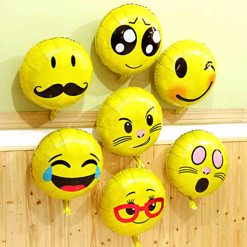 18 Inch Aluminum Foil Inflatable Balloon Balloon Smiley Face Birthday Party Expression Birthday Decoration Emoji Foil Balloon