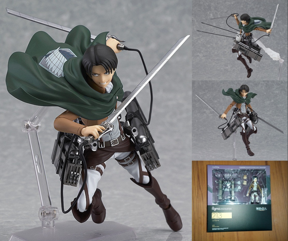 Anime Figure 14CM Attack on Titan Shingeki no Kyojin Rivaille Figma 213 Boxed PVC Action Figure Model Collection Toy Cartoon japan anime attack on titan brinquedos shingeki no kyojin legion levi juguetes pvc action figure model collection toys doll