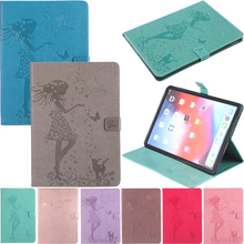 Tablet Funda iPad8 Case Capa For iPad 9.7 2017 2018 Luxury Lady Cat Leather Wallet Magnetic Flip Cover Coque Shell Skin Stand