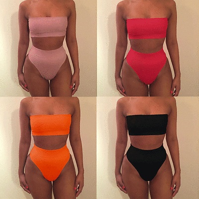 2018 New Bikini Strapless Swimwear Women Solid 6 Color Swimsuit $4.39 Per Piece New Item Sexy Off Shoulder Bathing Suit 1