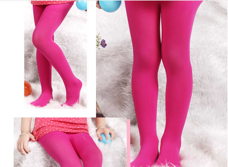 23688ce06 ... Summer Girl Silk Pantyhose Pure Colour Tights for Girls Rose Red Yellow  Purple Sky Blue Black ...