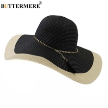 BUTTERMERE Black Wide Brim Hat Women Straw Fedora Holiday Travel Female Summer 2019 New Brand Casual Foldable Sun 15cm