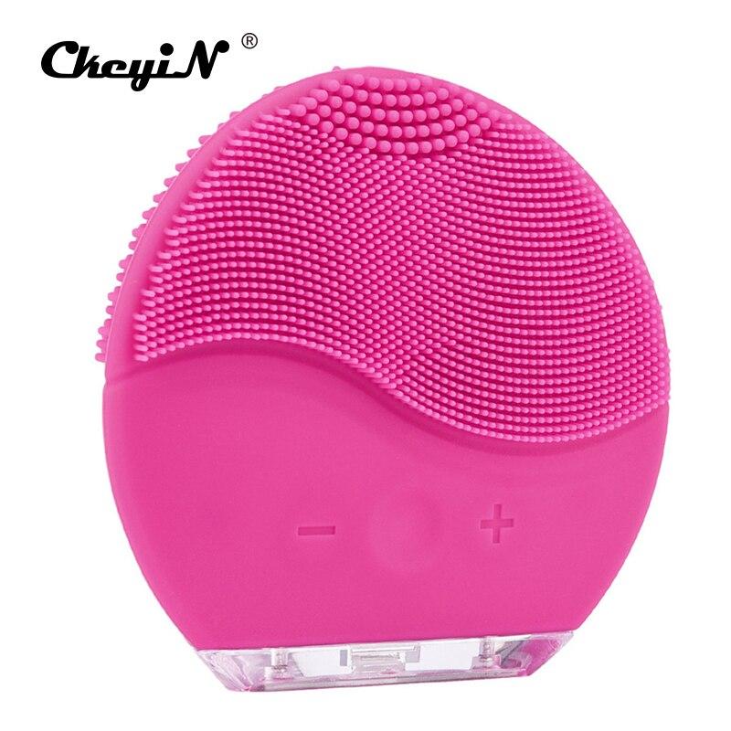 Eléctrico cepillo de limpieza Facial de lavadora de silicona impermeable vibración sónica cara limpiador de piel masajeador dispositivo de belleza