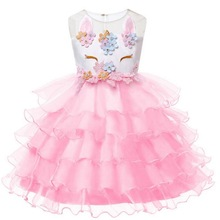 Girl Unicorn Flower Princess Tutu Dress for Wedding Dresses With Hairband Cosplay Costume Kids Baby Birthday Party Cake Dress цена 2017