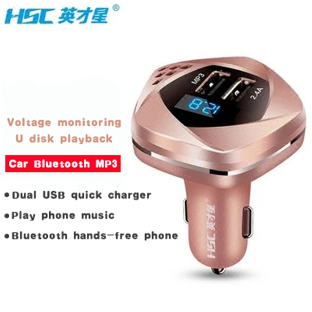 Brand HSC 103 2016 New Bluetooth FM Transmitter Car MP3 Player Voltage Monitor Handsfree Quick Charger Adapter Dual USB Port