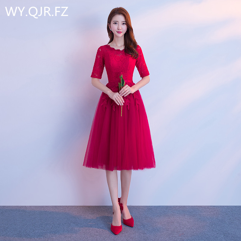 JYX79Y#O-Neck Half Sleeve Lace Up Medium Long Style Wine Red Bride's Bridesmaid Dresses Wedding Party Prom Dress 2019 Wholesale