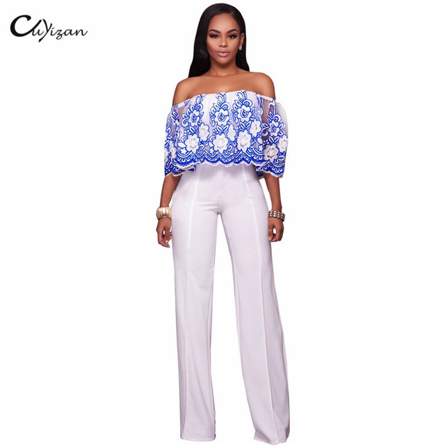 911d4a89077 Cuyizan Sexy Off Shoulder Women Jumpsuit Rompers 2017 Embroidery Floral  Bodycon Pants Elegant One Piece Party Playsuits