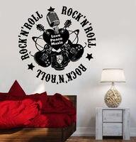 O envio gratuito de guitarra da música rock arte murais sala de estar adesivos de parede decalques da parede do vinil decorativo moda música Y-1