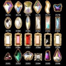 100PCS 3573-3596 Shiny Gold  Frame Alloy Jewelry Gems Nail Art Tips Glitter Rhinestones Decoration Sticker