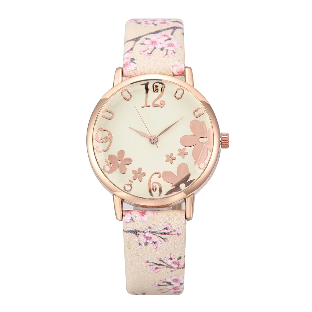 Hot Women Fashionable Embossed Flowers Small Fresh Printed Watch Gift Clock Leather Belt Student Dress Quartz WristWatch Girl#B