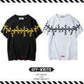Best Version New Arrival 2017 Spring Summer OFF WHITE Twill HipHop Male And Female Lovers Round Neck Short Sleeve Cotton T-shirt
