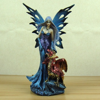 Vivid Succubus and Firedrake Figurine Mythical Resin Fairy and Fiery Fragon Statue Art and Craft Ornament Accessories Furnishing figurine