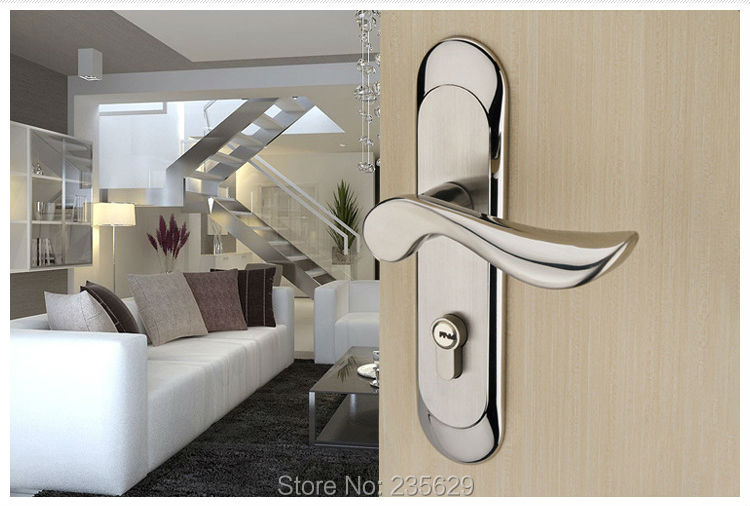 Free Shipping, Mortise Lock, Bedroom/Bathroom/Kitchen Door Lock, Stainless Steel Brushed finished handle lock,double bolts lock europe standard 304 stainless steel interior door lock small 50size bedroom big 50size anti shelf strength handle lock