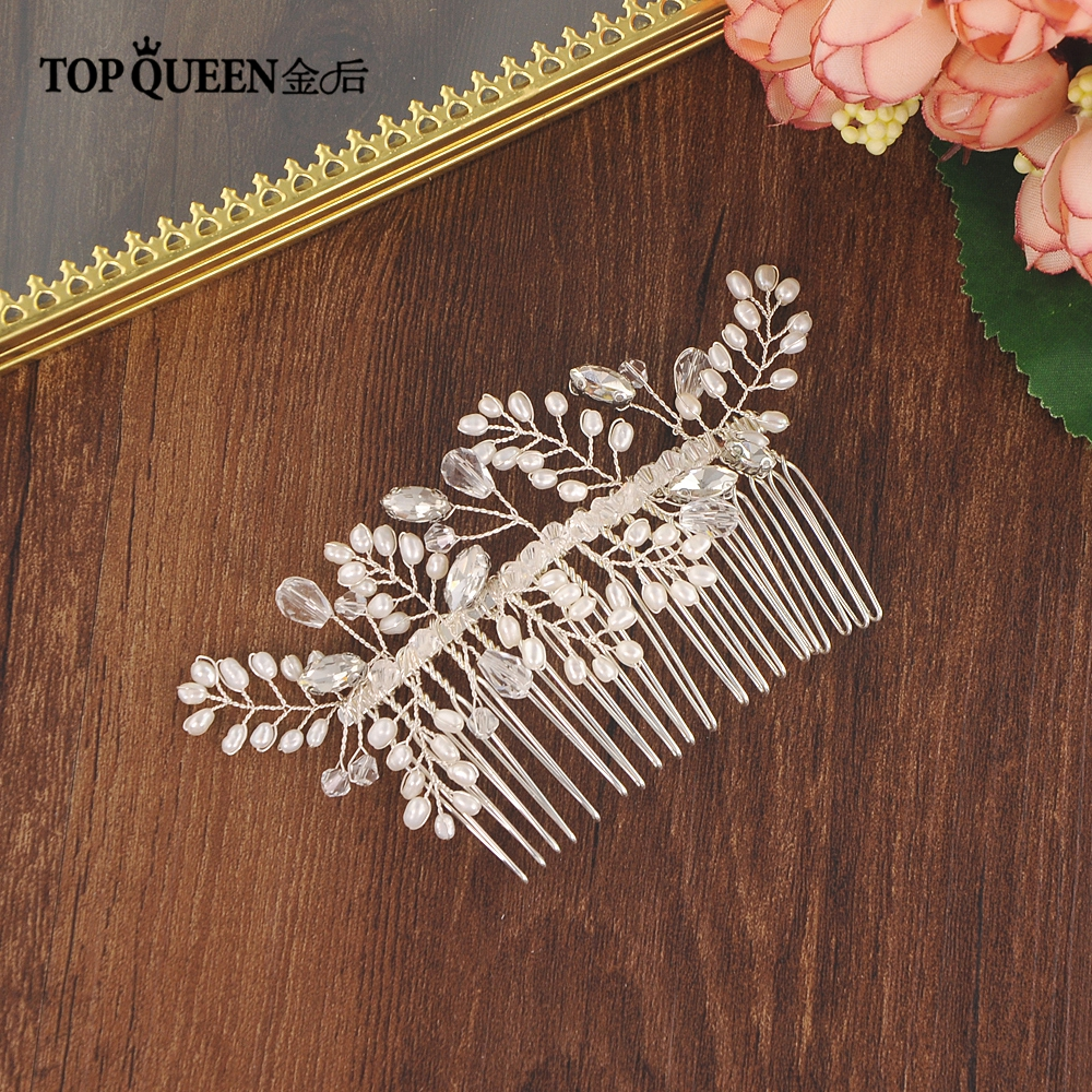 TOPQUEEN Romantic Bridal Hair Comb Rhinestone Headpieces Hair Accessories Wedding Hair Combs Ornamental Hair Comb HP82