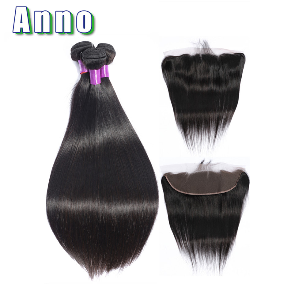 Anno Straight Hair Bundles With Lace Frontal Closure 2 3 Bundles Hair With 13 4 Closure
