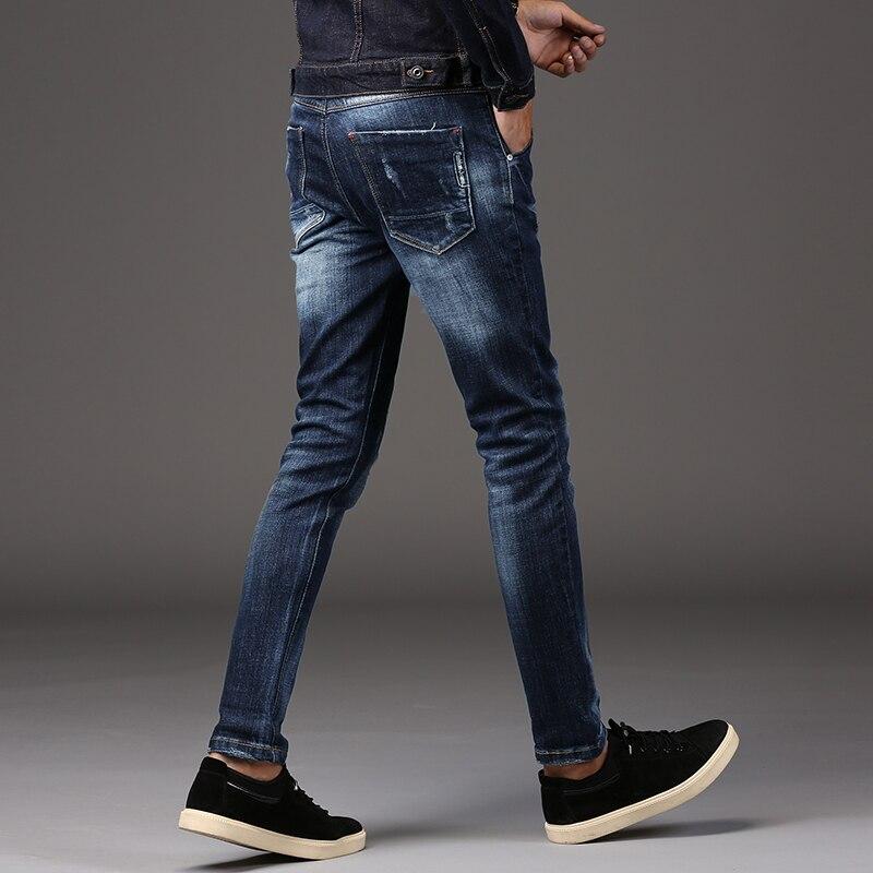 Jeans Men 2017 New Fashion Korean Style Slim Fit  Personality Vintage Classical Denim Pants men s cowboy jeans fashion blue jeans pant men plus sizes regular slim fit denim jean pants male high quality brand jeans