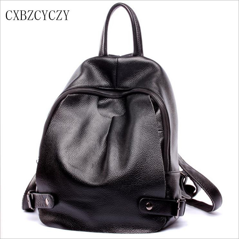%100 Genuine Leather High Quality Women Famous Designer Brand Backpack Cow leather Leisure Fashion Bag Mochila Rucksack Black