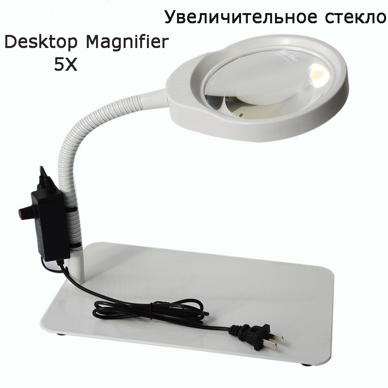 Multi-function Adjustable Flexible Desktop Magnifier With LED Light PD-032C for Industrial Personal use (5X White) цены