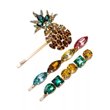 3Pcs/set Rhinestone Hair Clips Fashion Pineapple Style Women Barrettes Hairsildes Jewelry Summer Pins Set Girls Gift