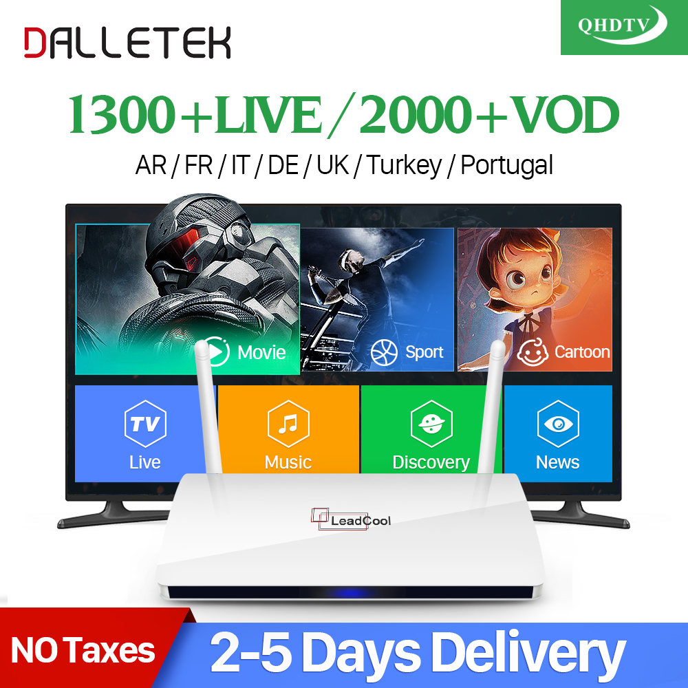 Dalletektv Android IPTV caja Receptores de televisión árabe francés IPTV suscripción 1 año qhdtv holandés Bélgica árabe Francia IPTV VOD