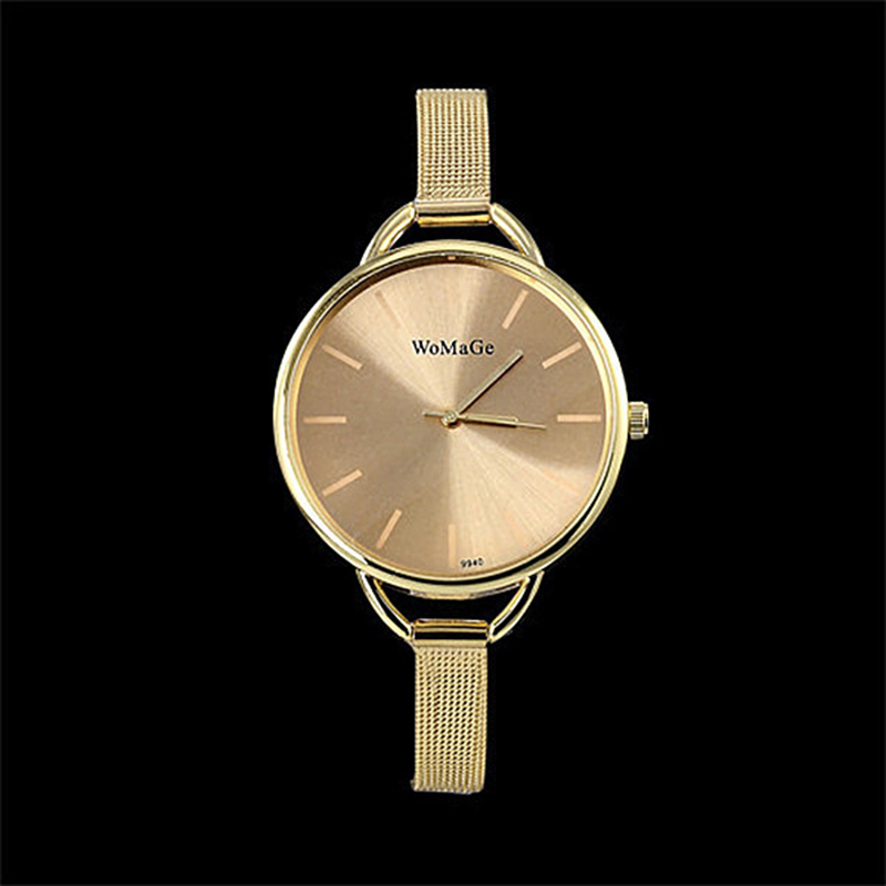 2019 Luxury Golden Women Dress Wrist Watches Brand Womage Ladies Ultra Slim Stainless Steele Mesh Mini Bracelet Quartz Watch