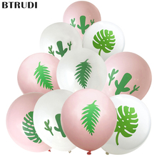BTRUDI 10pcs/lot leaf cactus printed latex balloons 10 inch white pink thickened round balloon wedding birthday party decoration
