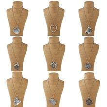 1pcs Gold Large Pendant Necklace Heart Om Ohm Aum Yoga Hindi OMKARA Triangle Knot Fatima Hamsa Hand for Women