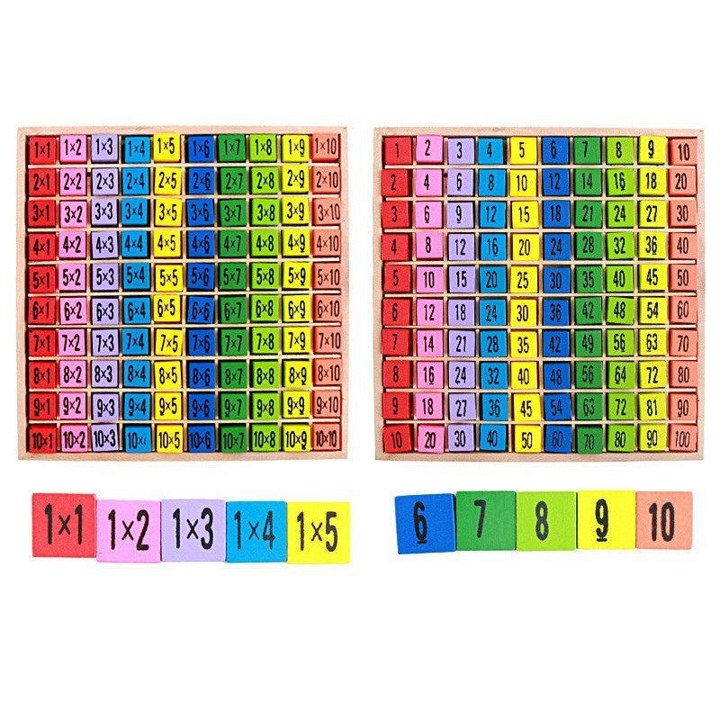 Montessori de Madera Juguetes de madera didácticos y educativos para niños bebé juguetes 99 la tabla de multiplicación de matemáticas aritmética enseñanza SIDA para los niños