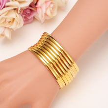12pcs Gold Bangle for Women Gold Dubai Bride Wedding Ethiopian Bracelet Africa Bangle Arab Jewelry Gold Charm Bracelet gifts jhplated one piece womens wedding bridal bangle bracelet dubai bangle jewelry africa arab gold color