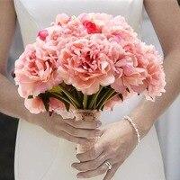 Handmade Silk Peony Flowers And Mini Rose Bridal Bouquet With Silk Ribbon Rhinestone Diamante Artificial Flower