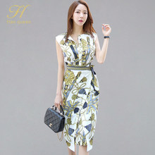 H Han Queen OL Summer Vintage Pencil Bodycon Dress Women 2019 New Printed Sheath Dresses Retro Bow Bandage Slim Casual Vestidos(China)
