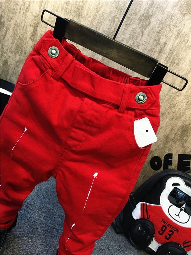 children baby boys autumn winter thick warm jeans pants (7)