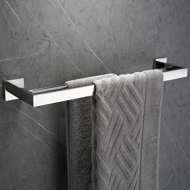1 pcs Free Shipping SUS 304 Stainless Steel Double Towel Bar Square Towel Rack In The Bathroom Wall Mounted Towel Holder