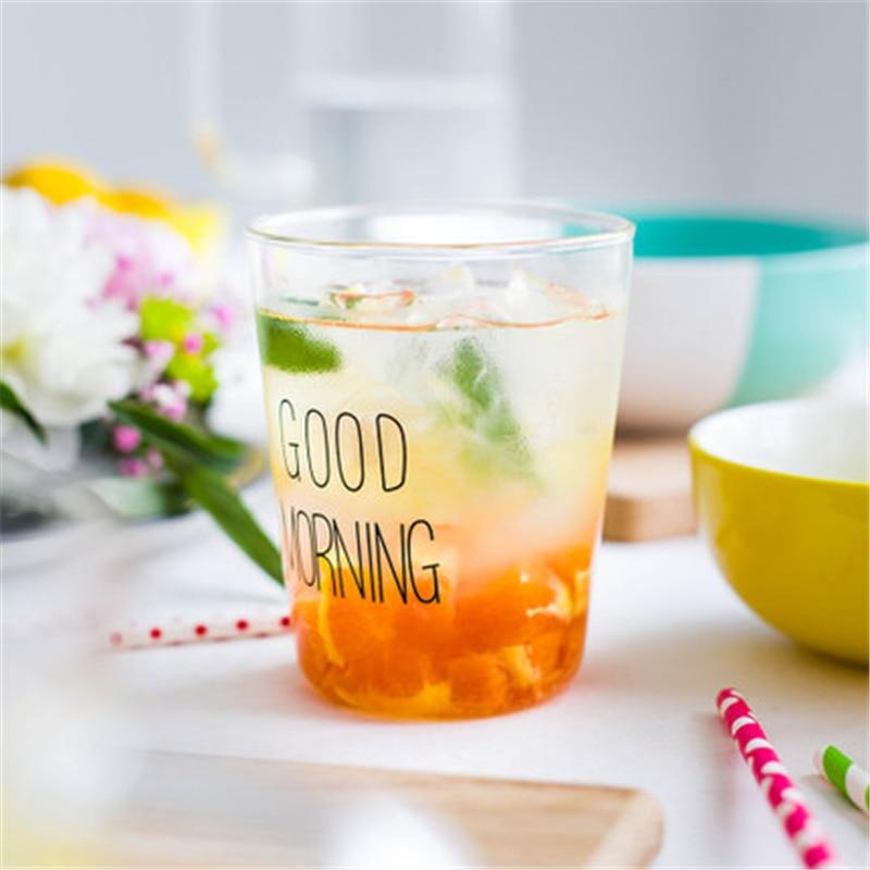 Us 474 5 Offguten Morgen Tassen Schwarz Weiß Transparent Kreative Glas Kaffee Tee Getränke Dessert Frühstück Milch Tasse Geschirr Glas Becher In