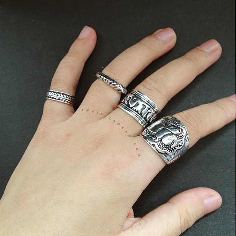 Bohemian Vintage Silver วงกลมเรขาคณิตแหวนชุดผู้หญิงคริสตัลบุคลิกภาพช้างแหวนชุดเครื่องประดับของขวัญ