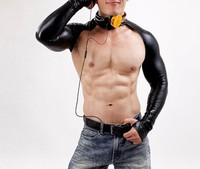 Men Leather Bodysuit Faux Leather Teddy Gay Men Neck Collar Stage Dancewear Corsets Men Gay Bar