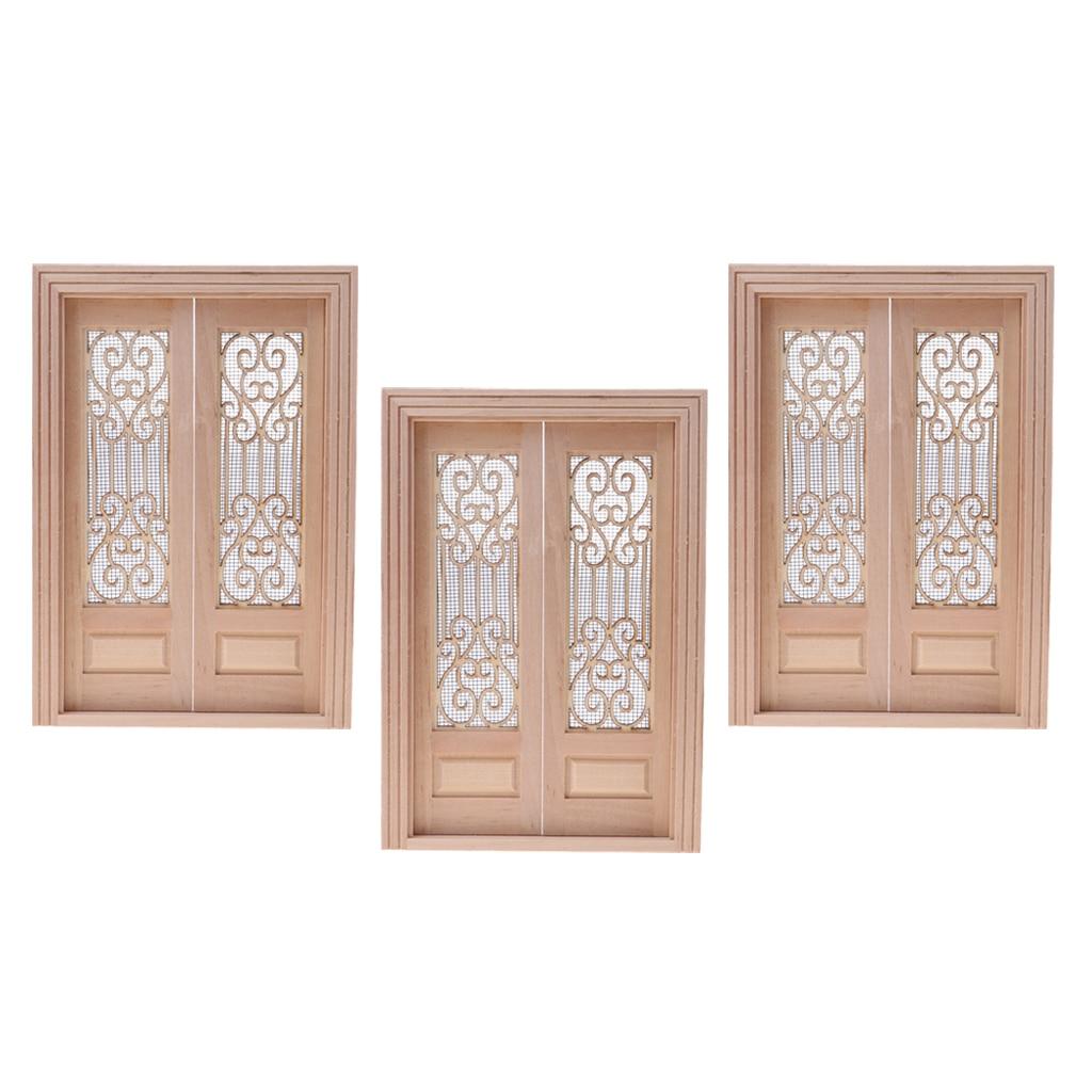 1//12 Dollhouse Decoration Miniature Wood External Hollow Screen Door Unpainted