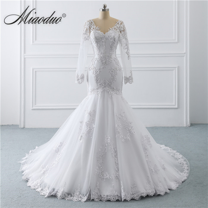 2019 Mermaid Wedding Dresses  With Long Sleeve White Lace Applique Vestidos De Novia Beaded Pearls Vestido De Casamento