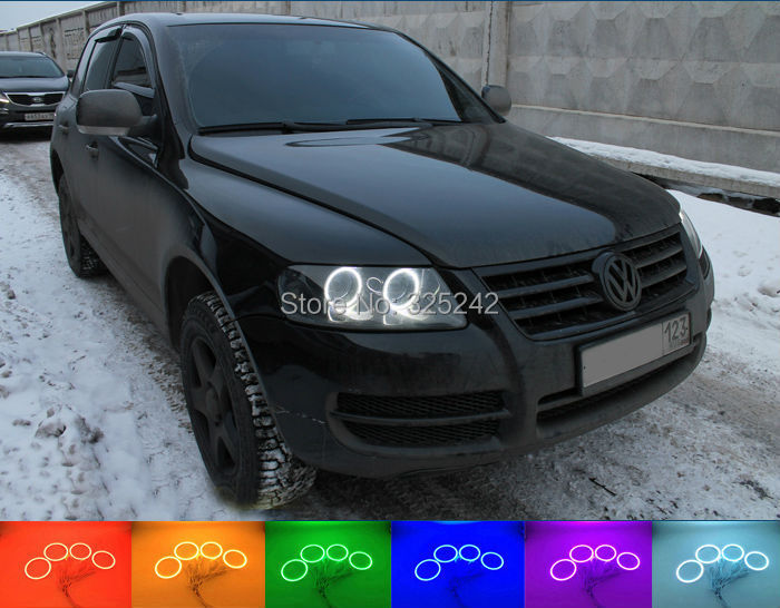 ФОТО For Volkswagen VW Touareg 2004 2005 2006 2007 HALOGEN HEADLIGHT Excellent Multi Color Ultra bright RGB LED Angel Eyes Halo Rings