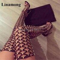 Новейшая модель, женские сапоги гладиаторы с открытым носком, с заклепками, золотистого цвета, с вырезами, высокие сексуальные сапоги на выс