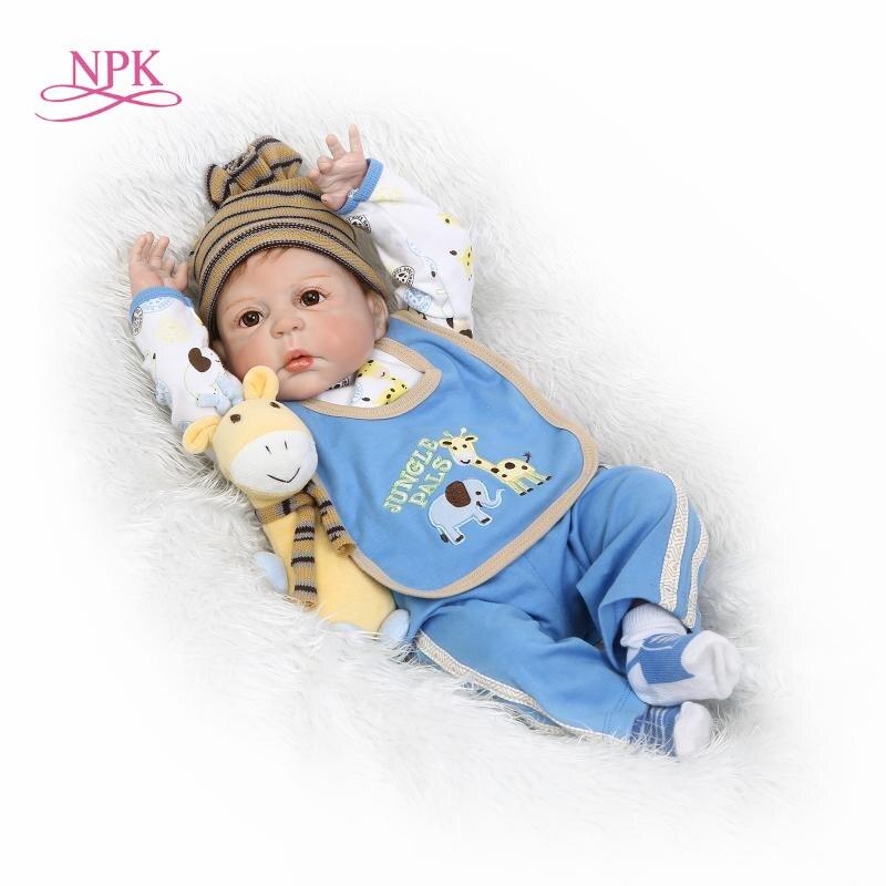 NPK lifelike reborn baby doll full vinyl silicone boneca doll playmate for kids Birthday gift brinquedo
