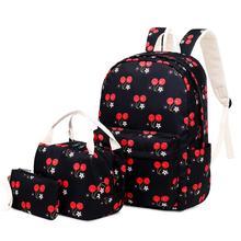 3PCS Nylon Waterproof Backpack Lunch Bag Pencil Ladies Printing Handbag Clutch Storage Set School
