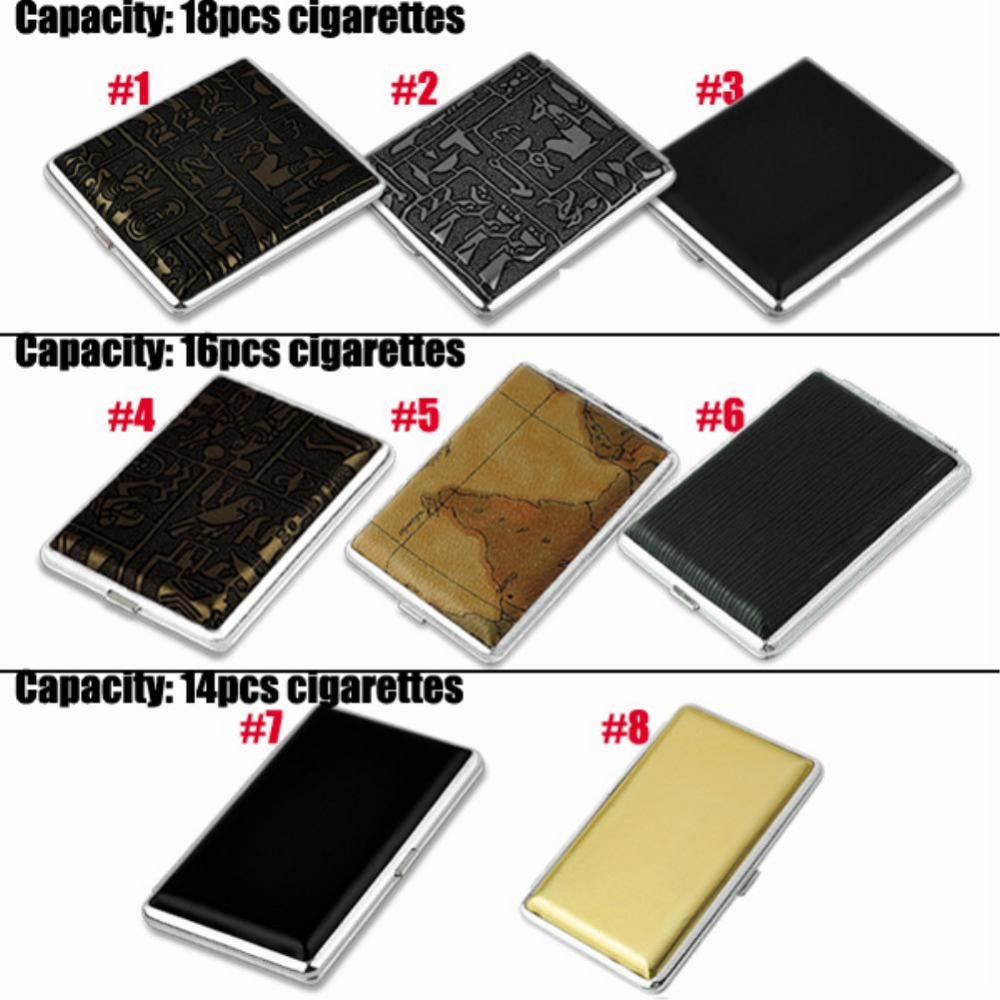 Leather & Metal Cigarette Box Pouch Case Holder Tobacco Storage Container