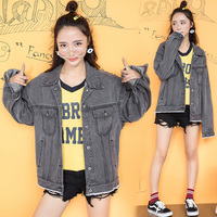 2017 Autumn And Winter The New Korean Women S Jeans Coat BF Wind Gray Wear Edge