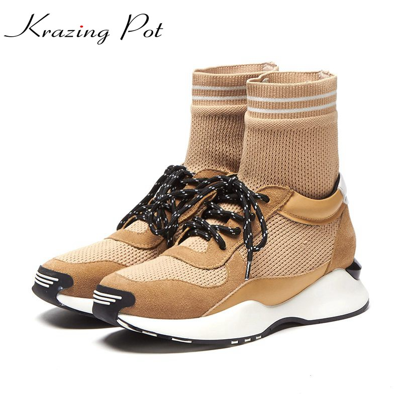 Krazing Pot superstar genuine leather cow suede knitting wedge lace up round toe fashion winter boots leisure mid-calf boots L30 front lace up casual ankle boots autumn vintage brown new booties flat genuine leather suede shoes round toe fall female fashion