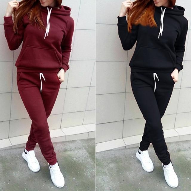 fceb4edcf Mulheres Velo 2 pcs Conjunto Agasalho Moletom Com Capuz E Calça de Moletom  Sportwear Terno