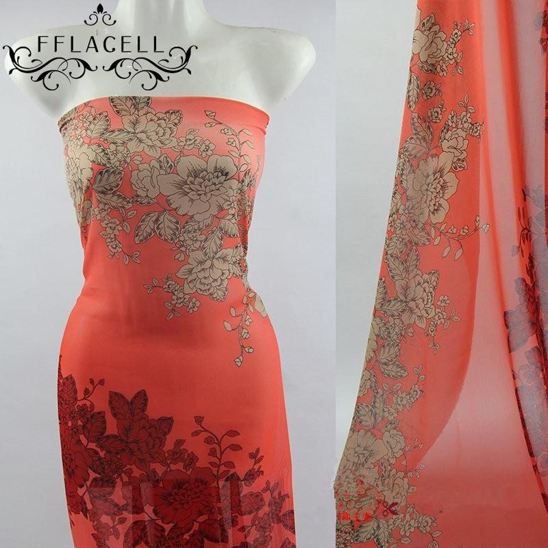 FFLACELL 50*150cm Silk Chiffon Printed Flower Fabric Material Sew On Cloth Women Dress Scarf