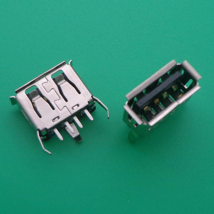 A Type Flat Angle (180 Degree) Female USB PCB Connector Socket, USB Jack Plug 3 Legs+4 Pin